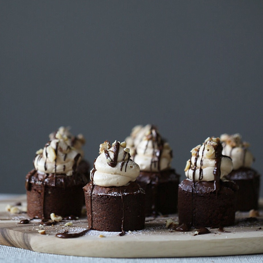 Chocolate Walnut Brownies with Salted Caramel Frosting