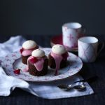 Chocolate Hazelnut Mini Cakes with Blood Orange Frosting
