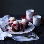 Chocolate Hazelnut Mini Cakes with Blood Orange Frosting