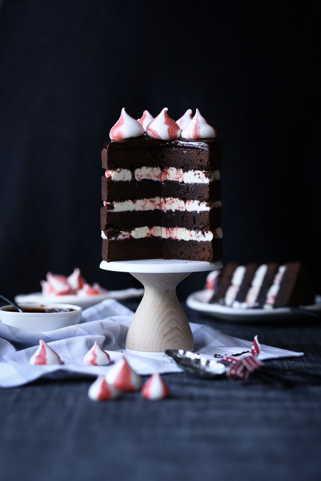 Dark Chocolate Peppermint Brownie Cake