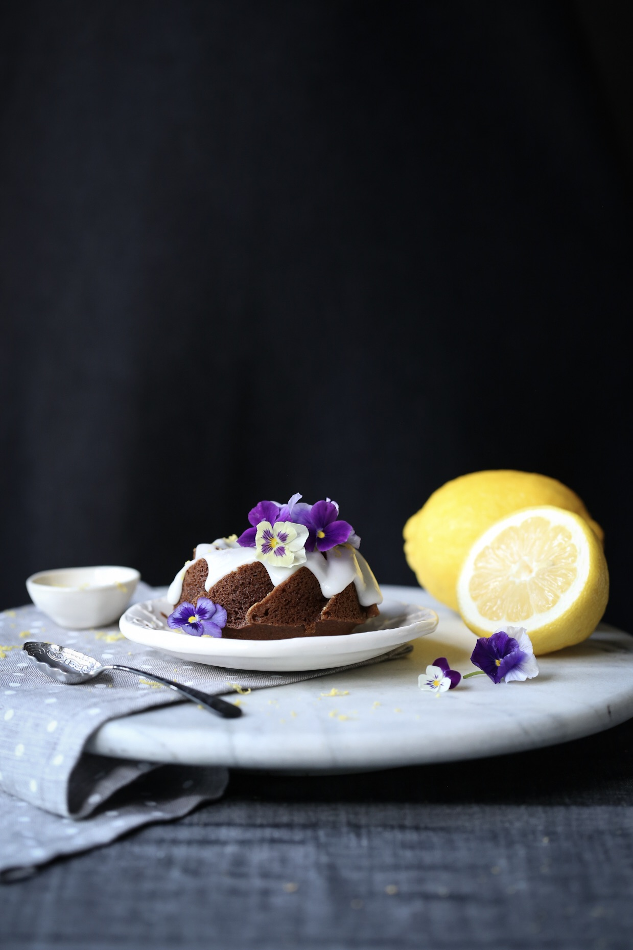 Mini Gingerbread Bundt Cakes with Lemon Glaze