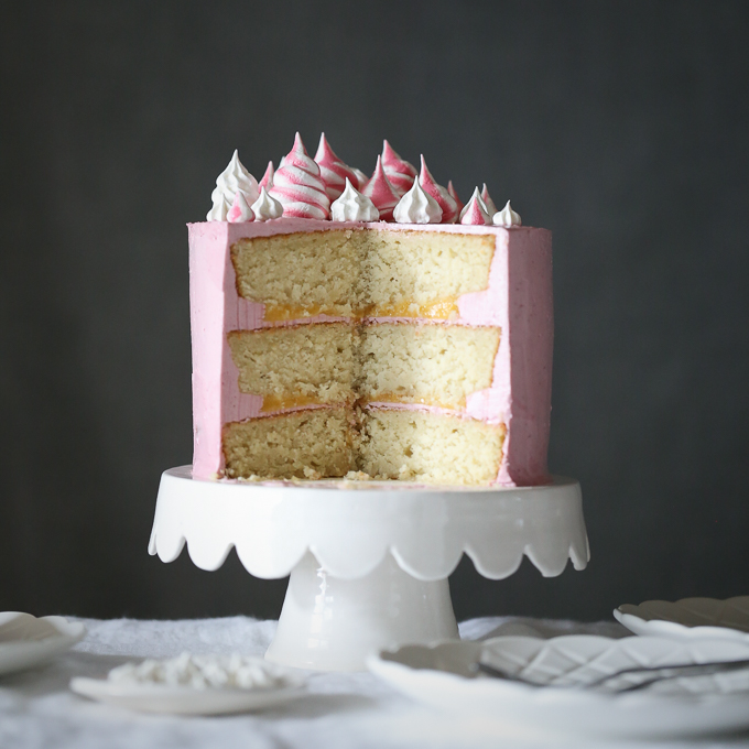 Coconut Raspberry Cake with Lemon Curd
