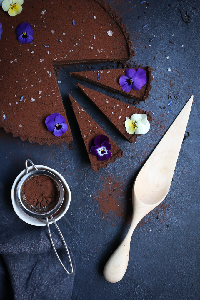 Chocolate Earl Grey Tart + Sea Salt (gf) | The Polka Dotter