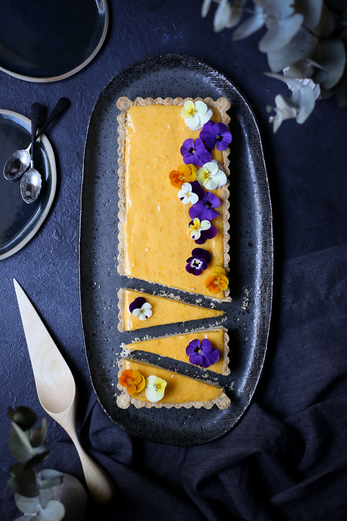 Meyer Lemon Curd + White Chocolate Cheesecake Tart | The Polka Dotter