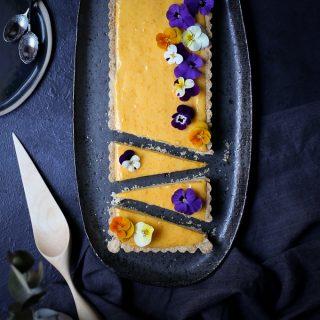 Meyer Lemon Curd + White Chocolate Cheesecake Tart | The Polka Dotter