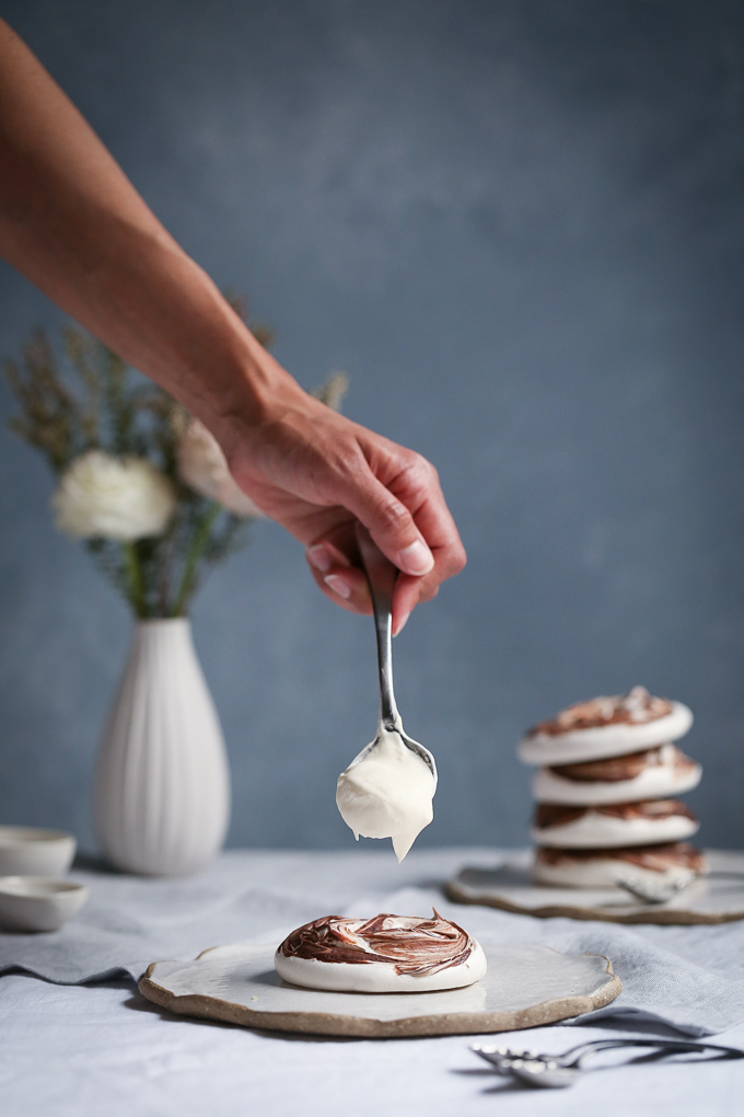 Chocolate Swirled Meringues + Blood Orange Curd | The Polka Dotter