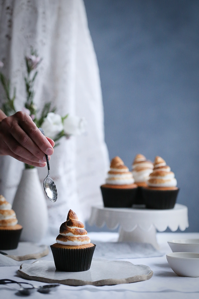 Coconut Meringue Cupcakes + Blood Orange Curd | The Polka Dotter