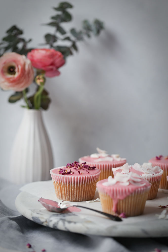 Vanilla Bean Cupcakes + Blood Orange Glaze | The Polka Dotter