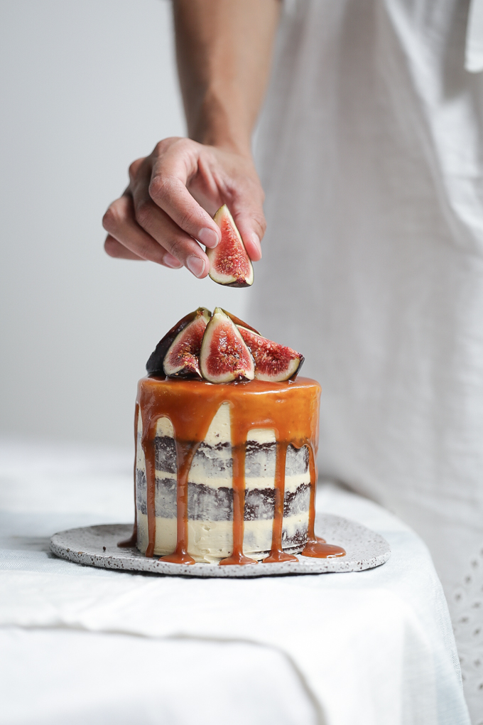 Chocolate Salted Caramel Brownie Cake + Fresh Figs | The Polka Dotter