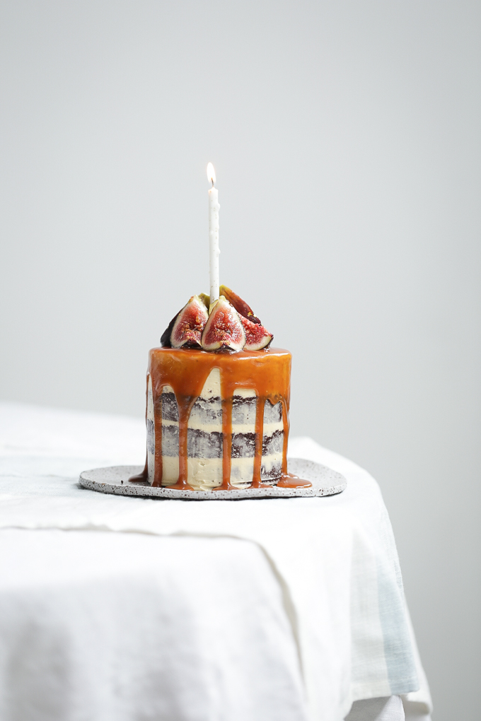 Chocolate Salted Caramel Brownie Cake + Fresh Figs