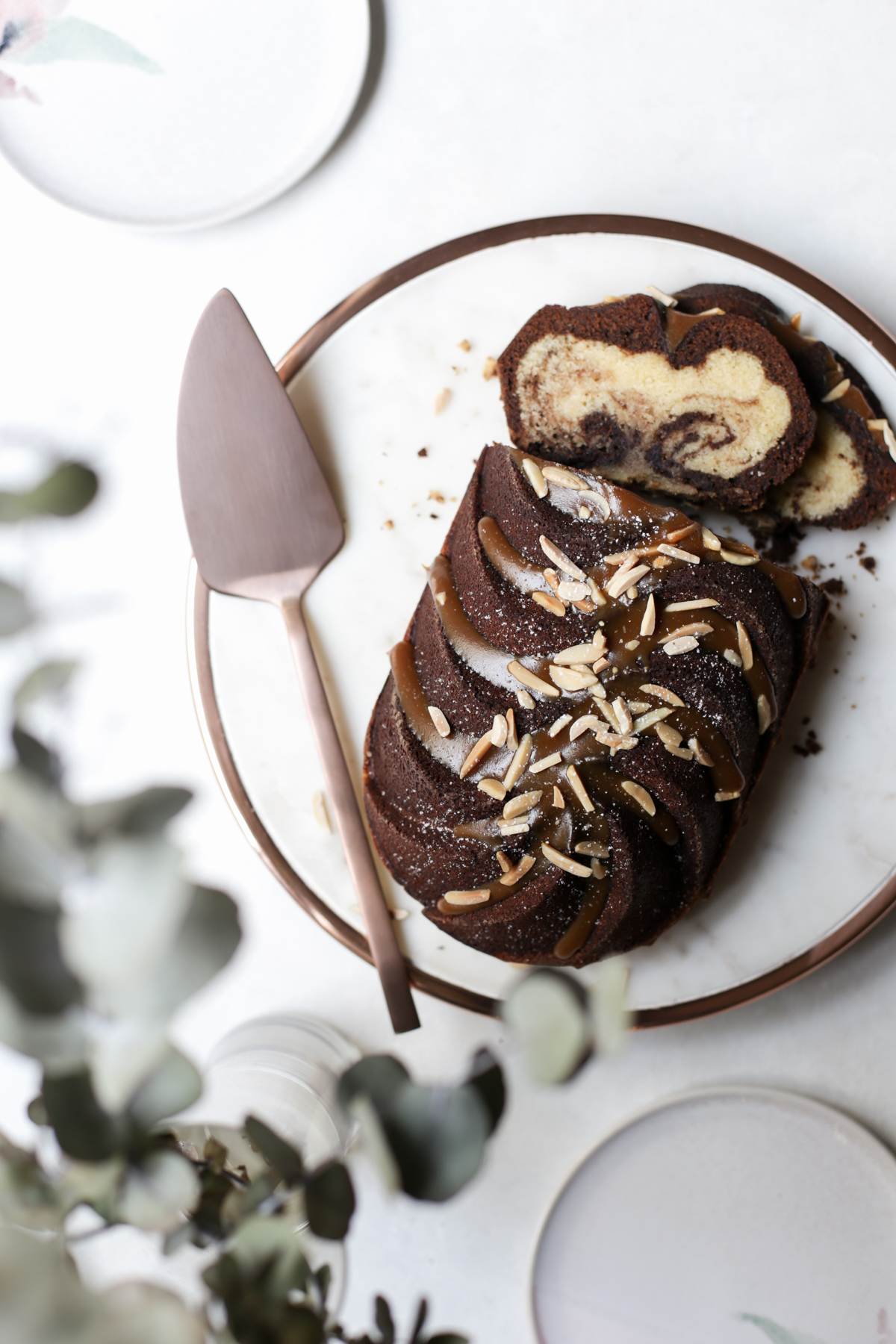 Marbled Chocolate Coffee Cake + Salted Caramel | The Polka Dotter