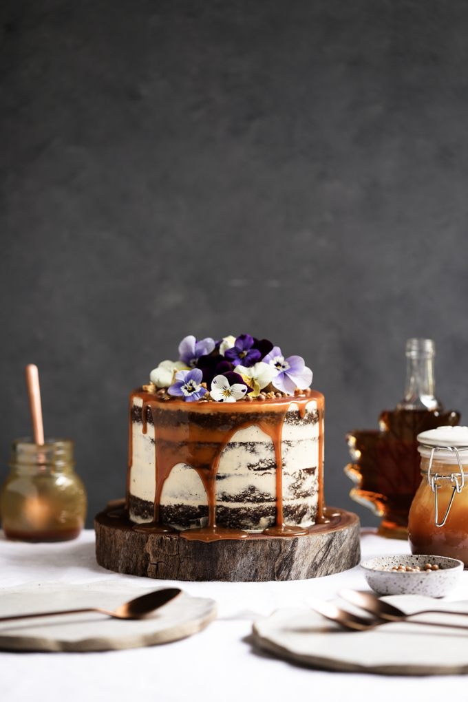 Pumpkin Spice Cake with Maple Frosting + Salted Caramel   The Polka Dotter