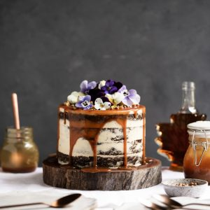 Pumpkin Spice Cake with Maple Frosting + Salted Caramel | The Polka Dotter