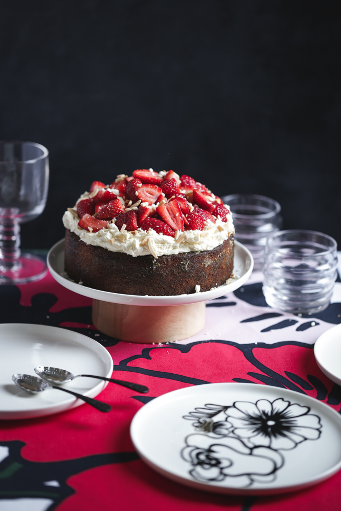 Strawberry and Basil Syrup Cake | The Polka Dotter