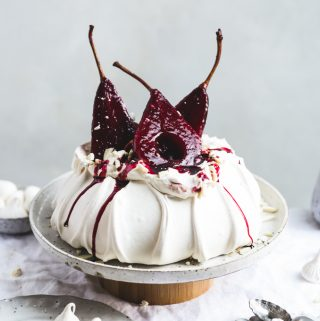 Hibiscus Poached Pear Pavlova   The Polka Dotter