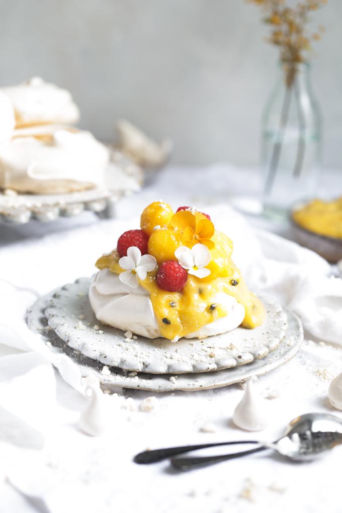 Mango & Passionfruit Curd Mini Pavlovas | The Polka Dotter