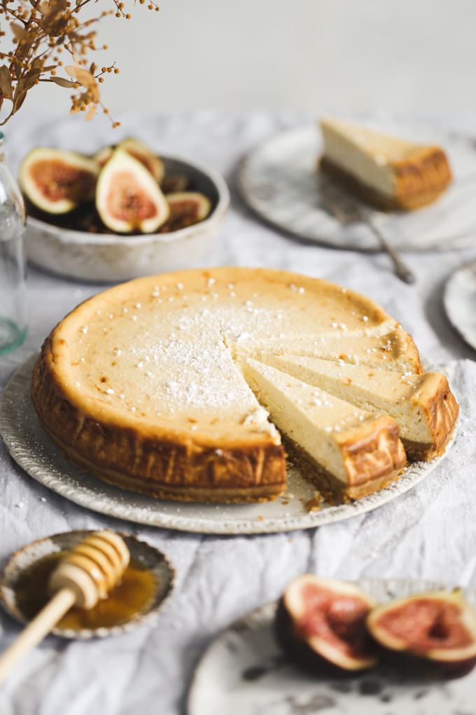Honey Ricotta Cheesecake with Bruleed Figs | The Polka Dotter