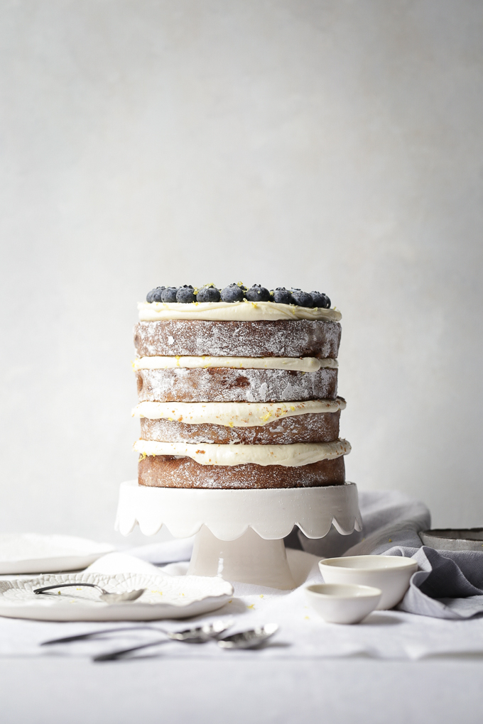 Lemon And Blueberry Layer Cake Cream Cheese Frosting The Polka Dotter