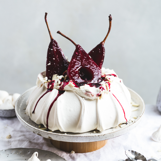 Hibiscus Poached Pear Pavlova | The Polka Dotter