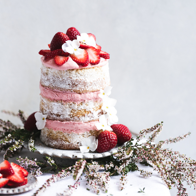 Roasted Strawberry, Lime & White Chocolate Layer Cake | The Polka Dotter